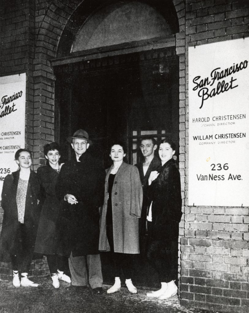 Lois Treadwell, Celena Cummings, Willam Christensen, Jocelyn Vollmar, Peter Nelson, and Onna White in front of SF Ballet's Van Ness studios. (© Courtesy of MPDSF)