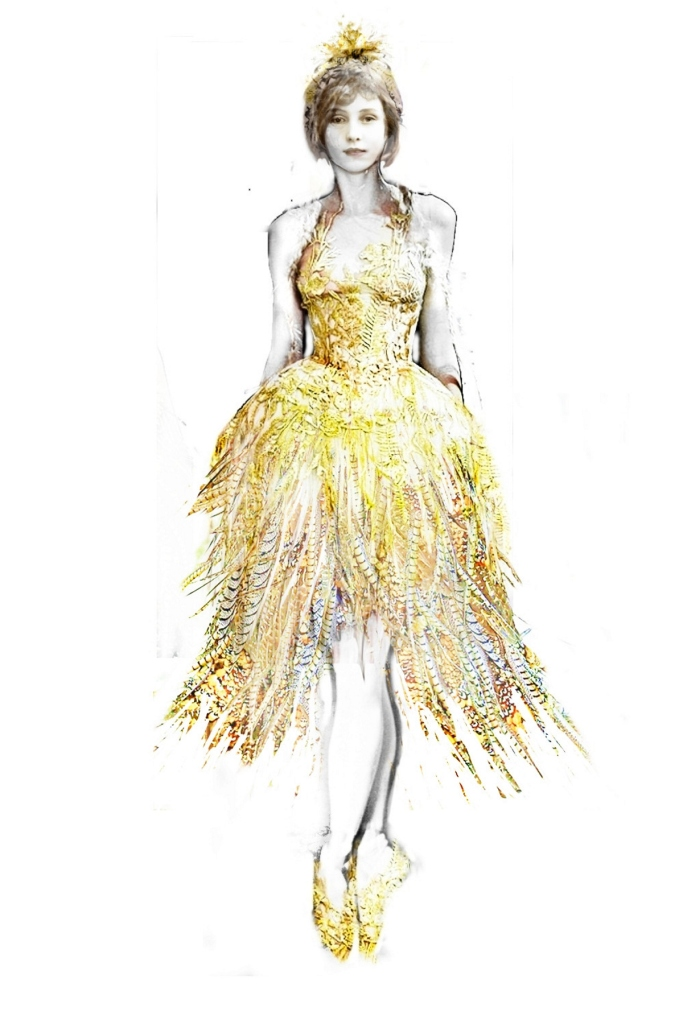 Julian Crouch's costume sketch for Cinderella's ball gown // © Julian Crouch